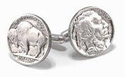 Buffalo Nickel Cufflinks with sterling silver fittings. Made in the USA