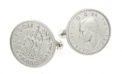Silver King George VI Sixpence Cufflinks with Sterling Silver Fittings