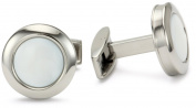 """Colibri Jewellery """"Hampton"""" Polished Stainless Steel Round Mother-Of-Pearl Cuff Links"""