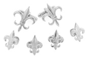 JJ Weston silver plated fleur de lis cufflinks and shirt stud formal set with presentation box. Made in the U.S.A