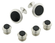 JJ Weston brushed finish cufflinks and shirt stud set with onyx with presentation box. Made in the USA