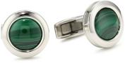 "Colibri Jewellery ""Hampton"" Polished Stainless Steel Round Deep Green Malachite Cuff Links"