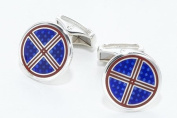 Sterling silver handmade cufflinks with red and blue enamel with presentation box. Made in England