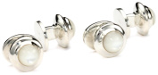 """ROTENIER """"Classic"""" Sterling Silver Globe with Mother-Of-Pearl Studs"""