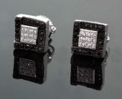 .925 Sterling Silver White Square White & Black Onyx Crystal Micro Pave Unisex Mens Stud Earrings 7mm
