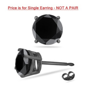 1/4 (0.21-0.27) Cts of 3.7-3.9 mm AA Round Black Diamond Mens Stud Earring in 14K Blackened White Gold