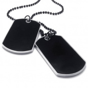KONOV Jewellery Army Style 2pcs Name Dog Tag Pendant Mens Necklace, Colour Black Silver, 68.6cm Black Chain