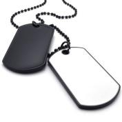 KONOV Jewellery Army Style 2pcs Dog Tag Pendant Mens Necklace Chain, White Black