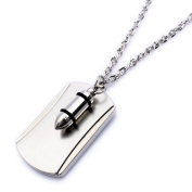K Mega Jewellery Army Style Cool Silver Bullet Beauty Dog Tag Mens Pendant Necklace