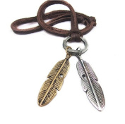Soft Leather Feather Necklace Men's Leather Necklace, Women's Leather Necklace B1