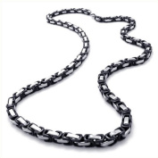 KONOV Jewellery Mechanic Style Stainless Steel Mens Necklace Link Chain - Colour Black Silver