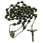 "Mens Black Stainless Steel Rosary Necklace with Cross 32"" Strong 8mm"