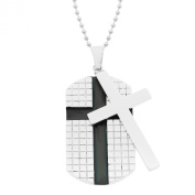 Men's Stainless Steel Movable Cross Dog Tag Pendant Necklace, 55.9cm