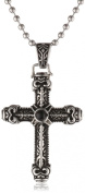 Men's Stainless Steel Black Agate Cross Pendant Necklace, 55.9cm