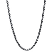 GOLDNROX Stainless Steel Antique Round Wheat Chain Necklace