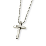 Men's Stainless Steel Brushed and Polished Cross Necklace