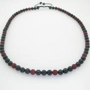 Mens beaded rosary chain crystal gemstone bracelet ball pave macrame necklace dark red and black macrame rosary