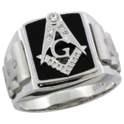 Sterling Silver Men's Black Onyx Masonic Ring w/ CZ Stones & Frosted Sides, 5/8 in. (16mm) wide, size 11