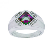 Men's Sterling Silver Mystic Fire Topaz and Diamond Gents Ring (0.1cttw, J-K Colour, I3 Clarity), Size 10.5