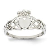 14k White Gold Mens Claddagh Ring