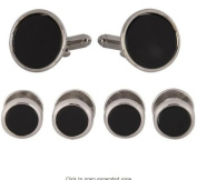 Cufflinks and Studs Set For Tuxedo- Black Formal with Stainless Steel Trimming