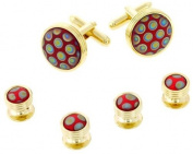 JJ Weston red peacock art glass cufflinks and shirt studs formal set. Made in the USA