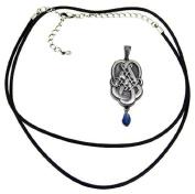Pewter Celtic Knotwork Teardrop Pendant Blue Stone