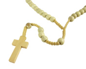 Natural Wooden Bead & Macrame Rosary Necklace