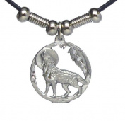 Howling Wolf in Circle Pendant - Beaded Black Leather Necklace