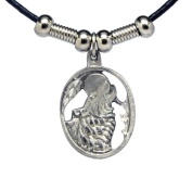 Howling Wolf in Oval Pendant - Beaded Black Leather Necklace