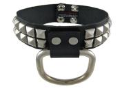 Black Leather Studded D Ring Choker Fetish Collar Sub