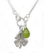 """Sterling Silver Four Leaf Clover and Peridot """"Irish Luck"""" Necklace, 45.7cm"""