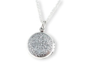 Sterling Silver Floral Pattern Round Locket Necklace