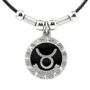 Taurus Pewter Pendant on Beaded Leather Necklace - Earth Spirit Necklace