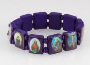 4030463 Wood Holy Saints and Icons Christian Jesus Christ Stretch Bracelet Catholic