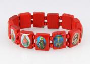 4030462 Wood Holy Saints and Icons Christian Jesus Christ Stretch Bracelet Catholic