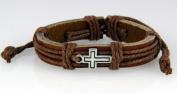 4030530 Christian Cross Leather Bracelet Scripture Jesus Bible Religious