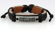4030535 WWJD What Would Jesus Do Christian Leather Bracelet Scripture Jesus Bible Religious Cross