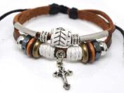 4030058 Christian Religious Scripture Inspirational Cross Leather Bracelet