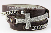 4030311 Brown Christian Cross Wrap Style Leather Silver Bracelet