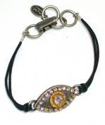 Michal Golan Sterling Silver and 24k Gold Plated Evil Eye Bracelet with Clear. Crystals on Black Leather Cord