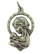 Religious Catholic Gift 3cm Silver Plate Blessed Madonna Virgin Mary with Infant Child Jesus Christ Medal Pendant Charm