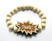 Wooden Hip Hop Swag Charm Bracelet w/ 10 mm Beads ALL GOOD WOOD STYLE! natural, elastic