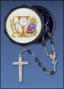 """Catholic Boys Gift Everlasting Covenant First Communion 6MM Black Bead 18"""" Rosary Necklace Religious Jewellery with Chi Rho Cross Chalice Grapes Wheat Design Keepsake Case"""