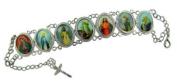 Womens Silver Sacred Heart Divine Mercy Devotional Saints Oval Medal 17.8cm Bracelet