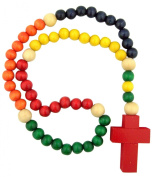 Catholic Youth Gift My First Rosary Multi Colour Wood Bead 35.6cm Cord Rosary Necklace Religious Jewellery