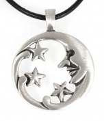 Pewter Moon Face with Stars Celestial Lunar Solar Pendant, Leather Necklace