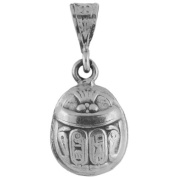 Egyptian Jewellery Silver Scarab Double Sided Pendant