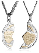 Sterling Silver and Stainless Steel Mizpah Medal Necklace, 50.8cm and 61cm