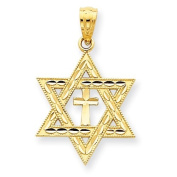 14k Diamond-cut Star of David w/Cross Pendant